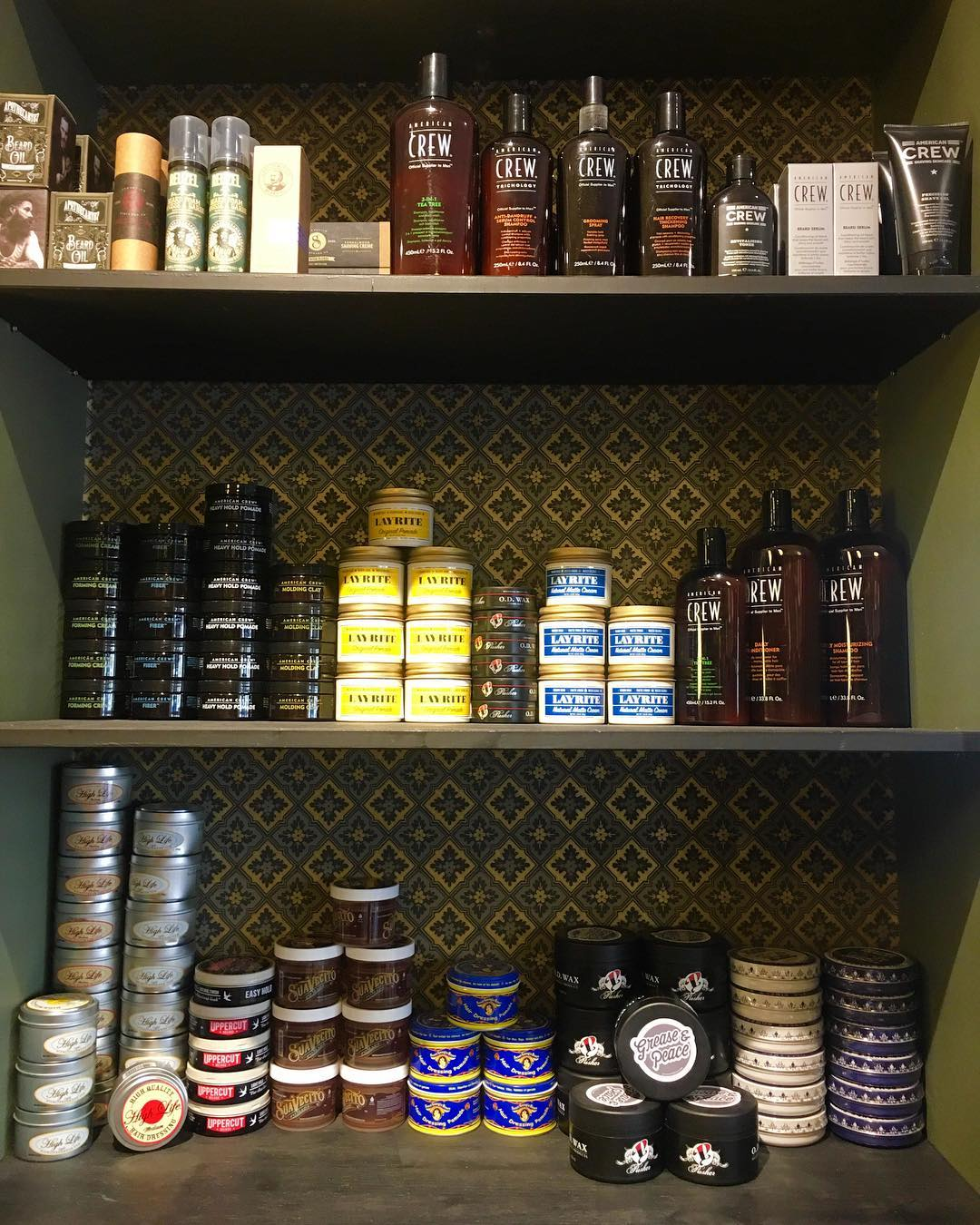 I just got grease , pomade , hair wax , beard oil , and much more to see at the shop . .
