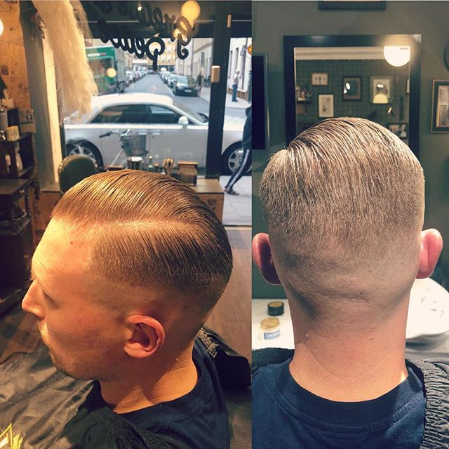 My boy looks fresh as fuck with his new skin tight fade classic side parting haircut . @greaseandpeace