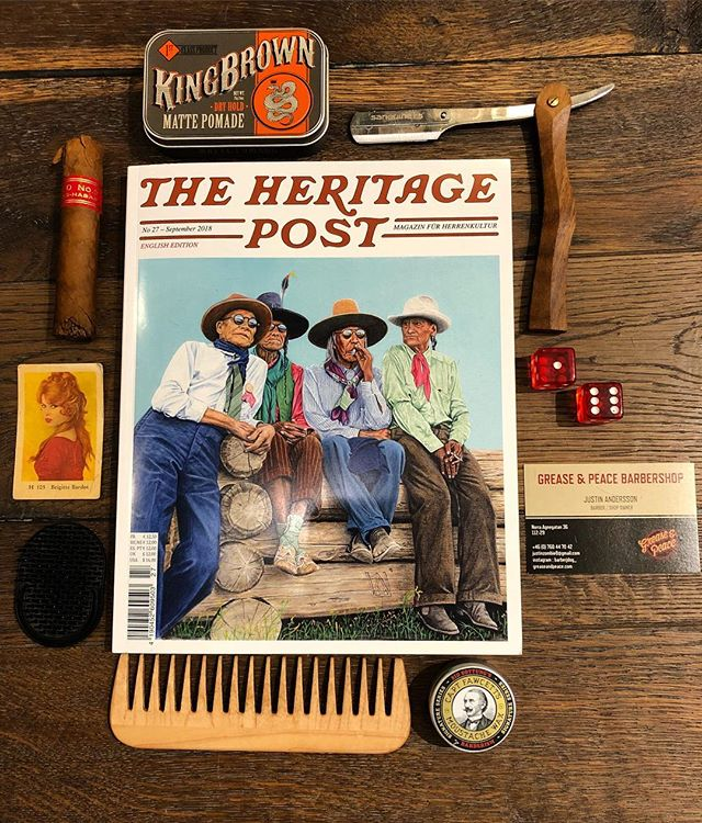 The new @theheritagepost magazine came in today (yes) . @kingbrownpomade @captainfawcett @mrbearfamily @suavecitopomade @brigittebardotbb only at @greaseandpeace #greaseandpeacebarbershop : barber JUSTIN ANDERSSON