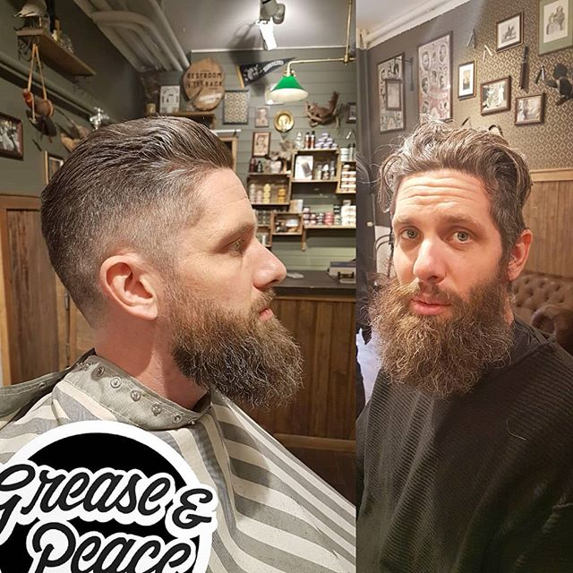 my old friend and owner of stockholms best old school bicycle shop @gamlastanscykel got the full treatment T'day :) #barbervonsven #barberlife #barbershop #greaseandpeacebarbershop