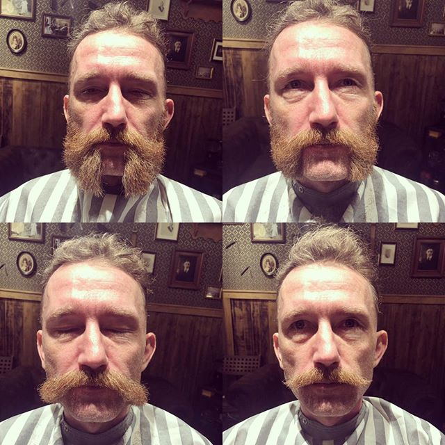 I had the pleasure cutting @barber_vonsven beard into four different classical western styles . Which one do you like . Open all day from 11:30 to 19:00 only at @greaseandpeace barbers: @barber_vonsven and @barberjdog_