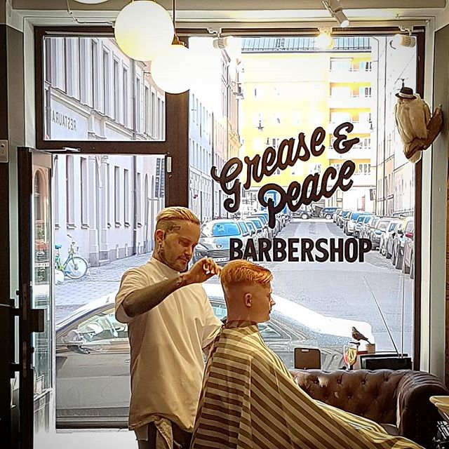 and.. @barberjdog doing his thing ! back open tomorrow,  come by and get dapper ... ya heard ! love, peace and hair grease friends !