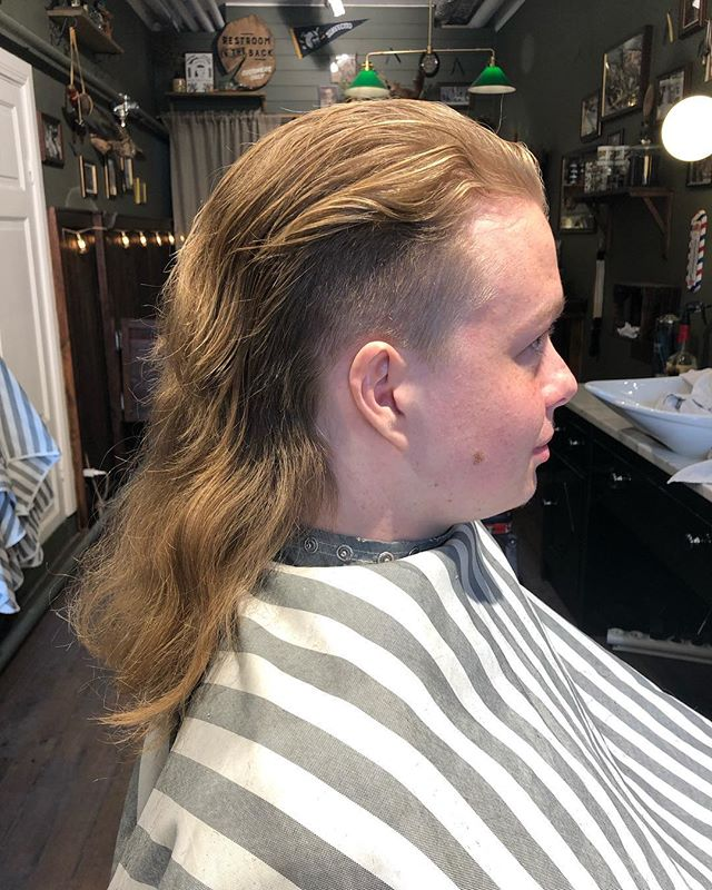 After the storm the sun ️ comes out. Mullet haircut . Client of the day . @greaseandpeace