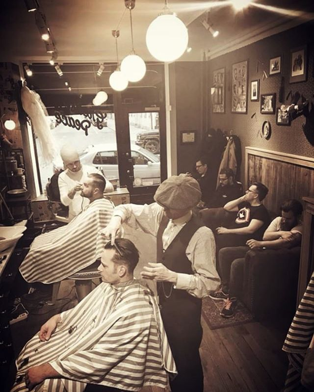 Open all day from 11:30 to 19:00 @greaseandpeace @barberjdog_ & @barber_vonsven  open the Gates and let the people inn . Hot coffees, hot towels and hot haircut, on this cold summer days . #greaseandpeacebarbershop