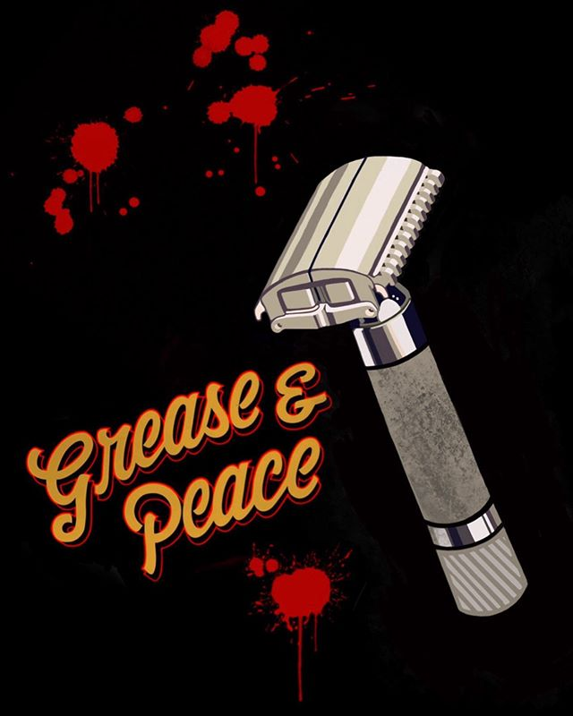 "This one is called ""shave Safe"" all three t-shirts will start going into action next month .  @greaseandpeace barbershop #greaseandpeacebarbershop"