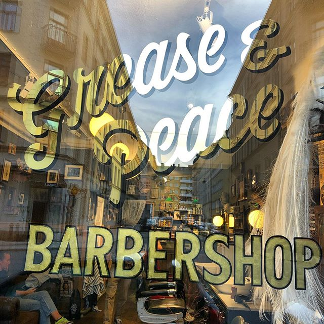 Only three more days left. This Saturday will be my last working day in Stockholm. So Come over and get that haircut before it's to late. . #greaseandgearsgarage window done by @vonsven