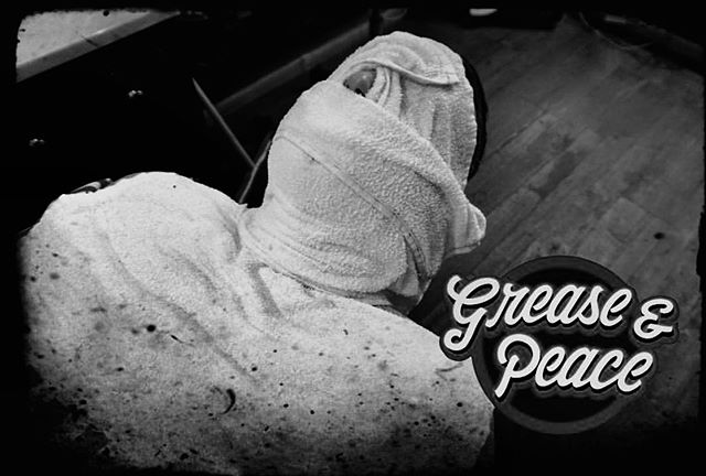 Towel wrapping is our specialty . #greaseandpeacebarbershop